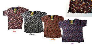 Damen Sommer T-Shirt, Kurzarm, buntig mit Blumen Design