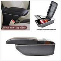 Double-Layer Telescopic Type PU Leather Car Armrest Container Box Black+Red Line