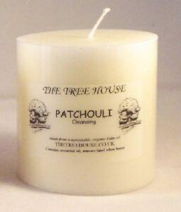 FOUR Patchouli Scented Pillar Candles, 5cm x 5cm. 12 HOURS BURN