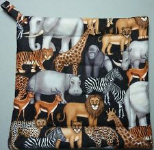 Deluxe Hot Pad/ Potholde: AFRICAN SAFARI / Tan/ Grey/ Black/ White :  Quilted