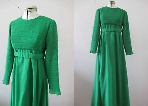 Vintage 70s Emerald Green Shirred Boho Maxi Dress Sm Buy 3+ items for FREE Post
