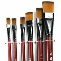 Pack of 6 Art Brown Nylon Paint Brushes for Acrylic J2C6