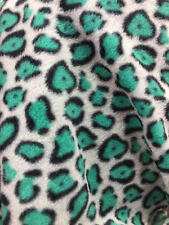 """Turquoise cheetah leopard Polar Fleece Sold By The Yard 60"""" Wide warm cozy"""