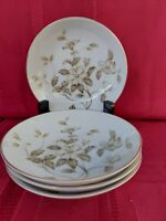 """MEITO CHINA 4 ROUND SOUP BOWLS 7 5/8"""" MADE IN JAPAN. FLOWERS WITH GOLD TRIM."""