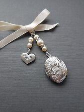 "Bridal Wedding Bouquet Photo Charm Oval Silver Locket Ivory pearls & ""Mum"" charm"