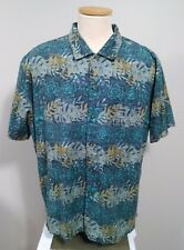 Woolrich Men's Short Sleeve Green Palm Leaf Button Down Shirt Size XL
