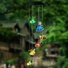 Solar Lamp Color Changing Led Cute Bee Wind Chimes Outdoor Home Garden Decor