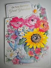 """FOLD-OUT """"ON YOUR BIRTHDAY GREAT-GRANDMA"""" GREETING CARD + PINK ENVELOPE"""