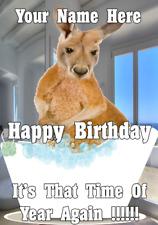Kangaroo bd71 Bath Time Fun Mignon CARTE D'ANNIVERSAIRE A5 Personnalisé Greetings