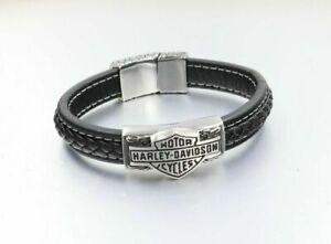 Harley Davidson Armband 22cm Lederarmband Biker Skull Schmuck NEU