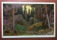 Tsarist Russia BILIBIN postcard 1903 Red Cross MAGIC Forest Ruslan and Ludmila