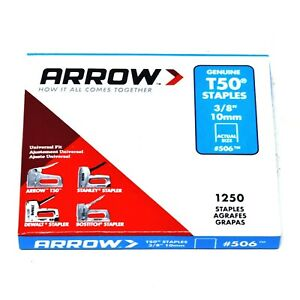 "PACK OF 1250 x GENUINE ARROW T50 10mm (3/8"") HEAVY DUTY STAPLES - UPHOLSTERY"