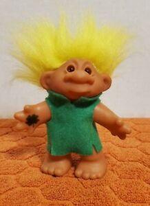 "Vintage 2001 Playmates 4.5"" Yellow Hair Amber Eyes Lucky Troll Doll K1193"