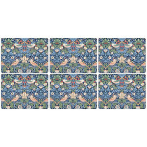 Strawberry Thief Placemats Blue from Morris & Co Pimpernel Collection Set of 6