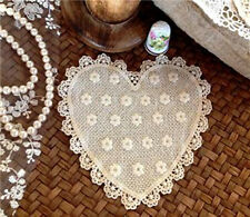 Vintage Sew On Embroidery Blossom HEART Cotton Lace Motif Patch Ecru