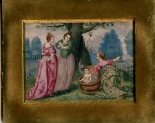 France 1690: Old Master Painting,  Young Hercules and the Ladies, Antique Frame
