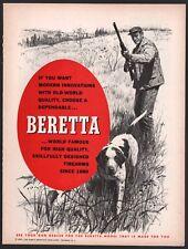 1967 Beretta Shotgun Ad Hunter w/ Pointer Gun Dog Art Old Firearms Advertising