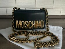 Moschino Couture Jeremy Scott Mini Bag Leather Logo Black Gold Metal Crossbody