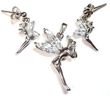 Fairy Tinkerbell EARRINGS & PENDANT COMBO SET CZ Stones .925 STERLING SILVER