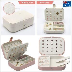 Portable Travel Jewellery Box Organizer Leather Ornaments Display Case Storage