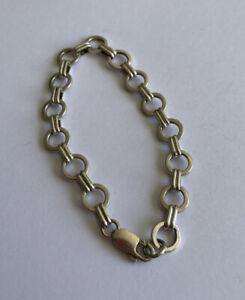 Vintage 925 Solid Silver Hoop & Bar Bracelet 7.5 Inch 13.4 Gram