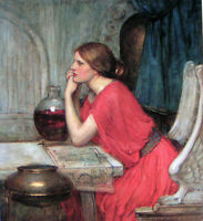 Oil painting Waterhouse - Nice young girl Circe in red dress seated canvas 36""