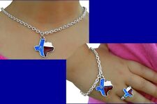 TEXAS STATE Children Kids Girl Red Rodeo Western Star Horse Cowgirl Jewelry SET