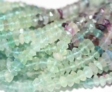 """14"""" St Fluorite Faceted Rondelle  Beads  7-8mm  Loose"""