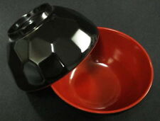24x Black/Red Plastic Rice Miso Soup Bowls 4.75in S-2373x24