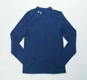 Under Armour ColdGear Mock LS Fitted Youth Boy's Smal Navy Blue 1288343