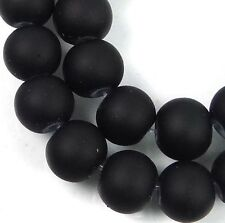 8mm Matte Frosted Neon Rubberized Glass Round Beads -  Black 16""