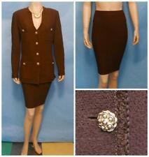St. John Collection Knits Brown Jacket & Skirt L 12 14 2pc Suit Gold Buttons