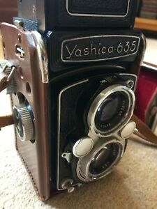 Yashicaflex 635 120 roll film camera with case, 35mm adapter and booklet