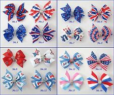 "100 BLESSING Good Girl 2.5"" Wing Hair Bow Clip National Flag Accessories USA"