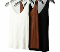 Women's V-Neck Knitted Tank Top Women Soft Stripe Cotton Elastic Sleeveless Vest