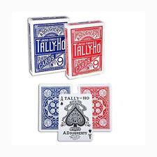 6 cubiertas Tarjetas Tally-Ho Fan Back (3 Blu-3 Rojo)