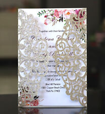 25Pcs Glitter Personalized Laser Cut Wedding Party Invitation Cards Kit Asagina