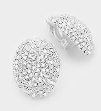 "1.1"" Clip On Stud White Silver Clear Pageant Crystal Rhinestone Earrings"