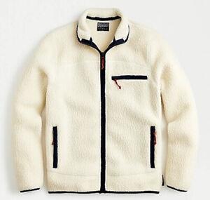 J Crew Men's Nordic Jacket Polartec Fleece Sherpa Full Zip Top Cream M NWOT