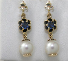CE903- Genuine 9K Yellow Gold Natural Sapphire & Pearl Drop Stud Earrings
