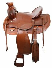 "Bear Trap Wade Style Ranch Saddle with Basket Weave Tooling and Rawhide 16"" NEW"