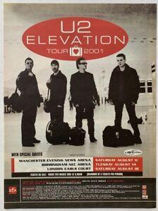 U2 2001 original POSTER ADVERT ELEVATION CONCERT TOUR
