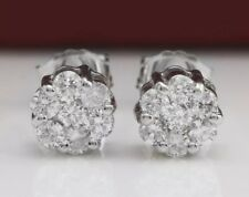 0.49 Carat Natural SI1 Diamonds 14K Solid White Gold Stud Earrings