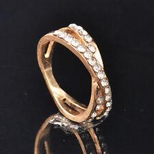 White Rhinestone 14K Gold Filled Eternity Engagement Dress Ring Size 7 AU SELLER