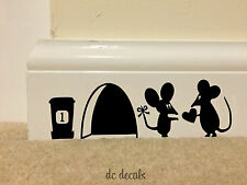 MOUSE Hole LOVE HEART Wall Art Sticker Vinyl Decal Mice Skirting Board Funny