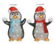 NEW LED Outdoor Acrylic Snowballing Penguins Christmas Garden Decorations PAIR!