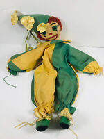VTG Folk Art Fabric Clown Stuffed Animal toy circus