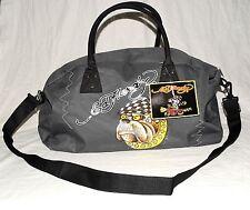 Ed Hardy Nasty Bulldog Duffle Bag Gray with Black Handles & Crossbody Strap NWT