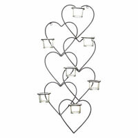 62cm Vintage Metal & Glass Love Heart Tea Light Wall Art Sconce Candle Holder