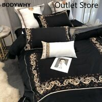 Luxury Embroidery Bedlinen Black Bedding Set Egyptian Cotton Cover Bed Sheet Set